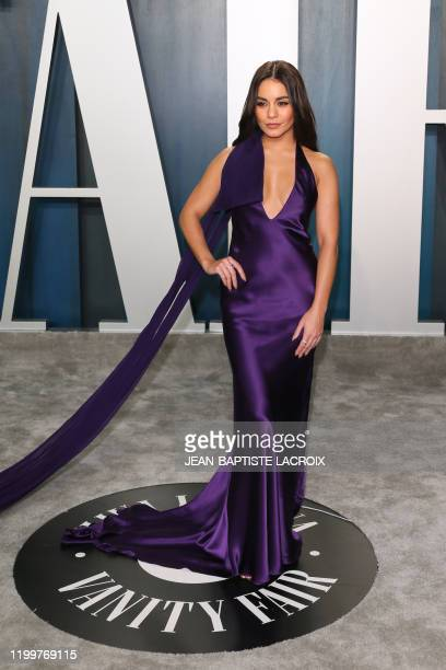 US actress Vanessa Hudgens attends the 2020 Vanity Fair Oscar Party following the 92nd Oscars at The Wallis Annenberg Center for the Performing Arts...