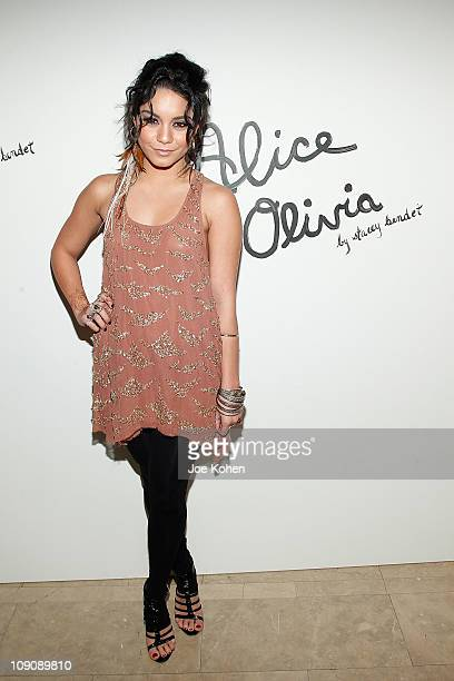 Actress Vanessa Hudgens attends the Alice + Olivia Fall 2011 presentation during Mercedes-Benz Fashion Week at The Plaza Hotel on February 14, 2011...