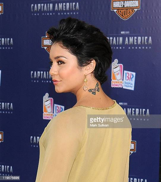 Actress Vanessa Hudgens attends the Los Angeles Premiere of Captain America The First Avenger at the El Capitan Theatre on July 19 2011 in Hollywood...