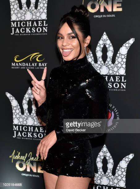 Actress Vanessa Hudgens attends the Michael Jackson diamond birthday celebration at Mandalay Bay Resort and Casino on August 29 2018 in Las Vegas...