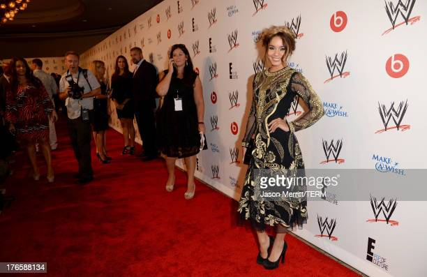 Actress Vanessa Hudgens attends WWE E Entertainment's SuperStars For Hope at the Beverly Hills Hotel on August 15 2013 in Beverly Hills California