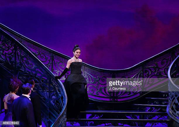 Actress Vanessa Hudgens descends the stairs to take a bow during curtain call at the Broadway Opening Night of 'Gigi' at the Neil Simon Theatre on...
