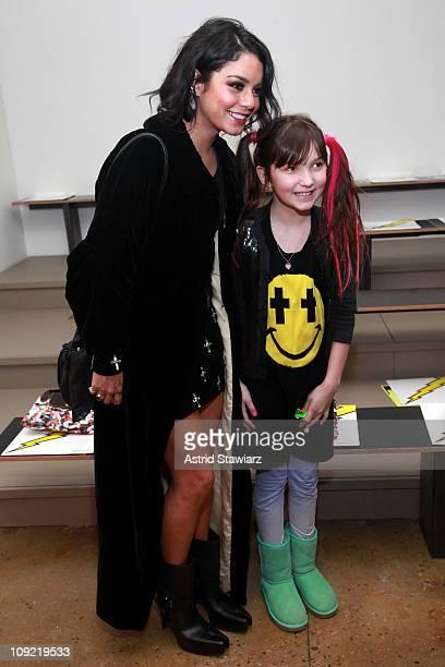 Actress Vanessa Hudgens greets Ava CutroneCalvo at the Jeremy Scott Fall 2011 fashion show during MercedesBenz Fashion Week at Milk Studios on...