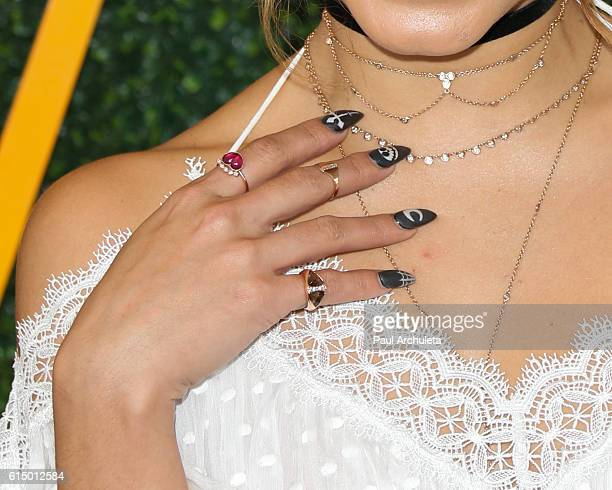 Actress Vanessa Hudgens Jewelry Detail / Fingernail Detail attends the 7th Annual Veuve Clicquot Polo classic at Will Rogers State Historic Park on...