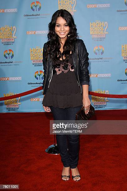 Actress Vanessa Hudgens poses at the DVD release of Disney Channels' 'High School Musical 2 Extended Edition' at The El Capitan Theatre on November...