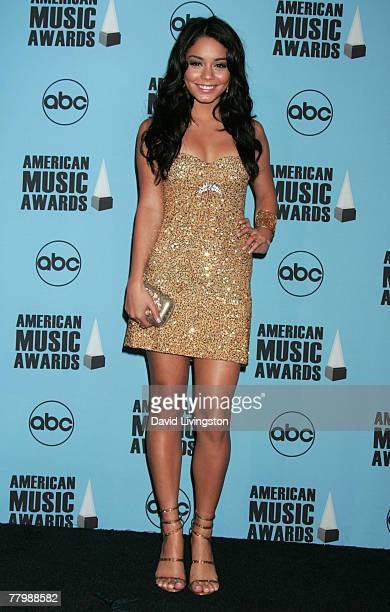 Actress Vanessa Hudgens poses in the press room at the 2007 American Music Awards held at the Nokia Theatre LA LIVE on November 18 2007 in Los...