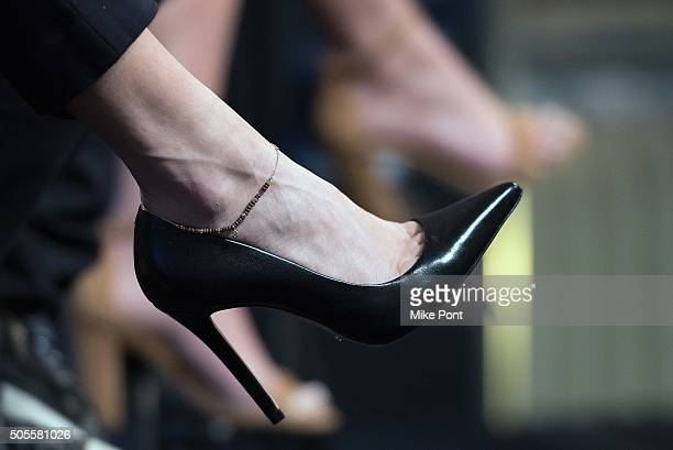 Actress Vanessa Hudgens shoe detail attends the AOL Build Speaker Series to discuss the television production of 'Grease Live' at AOL Studios In New...