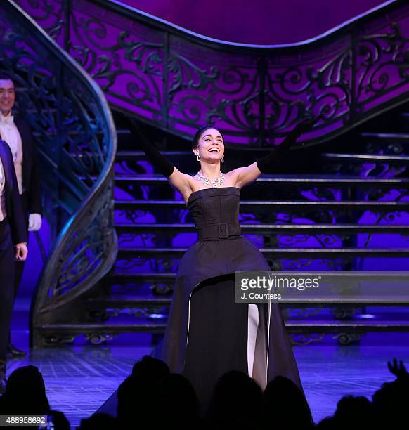Actress Vanessa Hudgens takes a bow during curtain call at the Broadway Opening Night of 'Gigi' at the Neil Simon Theatre on April 8 2015 in New York...