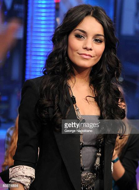 Actress Vanessa Hudgens visits MTV's TRL at MTV Studios in Times Square on October 21 2008 in New York City