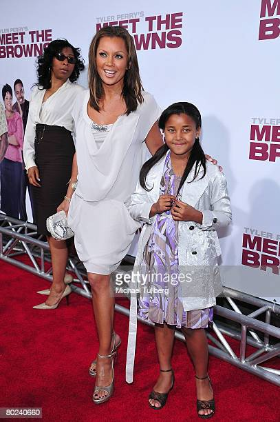 Actress Vanessa L Williams poses with her daughter Sasha Fox on the red carpet at the premiere of Meet The Browns at the Cinerama Dome theater on...