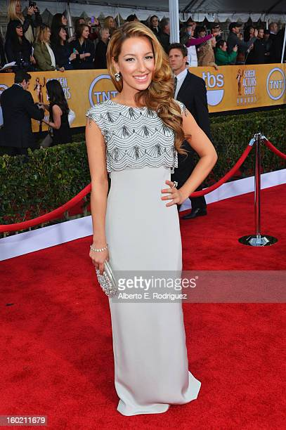 Actress Vanessa Lengies arrives at the 19th Annual Screen Actors Guild Awards held at The Shrine Auditorium on January 27, 2013 in Los Angeles,...