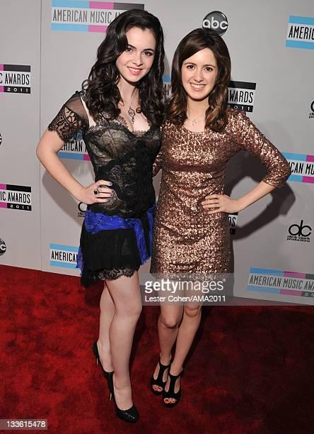 Actress Vanessa Marano and actress Laura Marano arrives at the 2011 American Music Awards held at Nokia Theatre LA LIVE on November 20 2011 in Los...