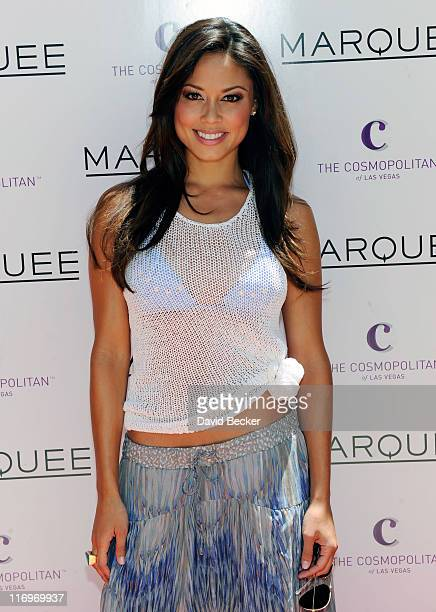 Actress Vanessa Minnillo arrives to celebrate her bachelorette party at the Marquee Dayclub at The Cosmopolitan of Las Vegas on June 18 2011 in Las...