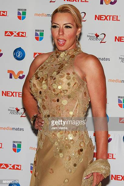 Actress Vanessa Oyarzun poses for a photo during the premiere of the television series 'Mujeres Asesinas' second season at the facilities of San...