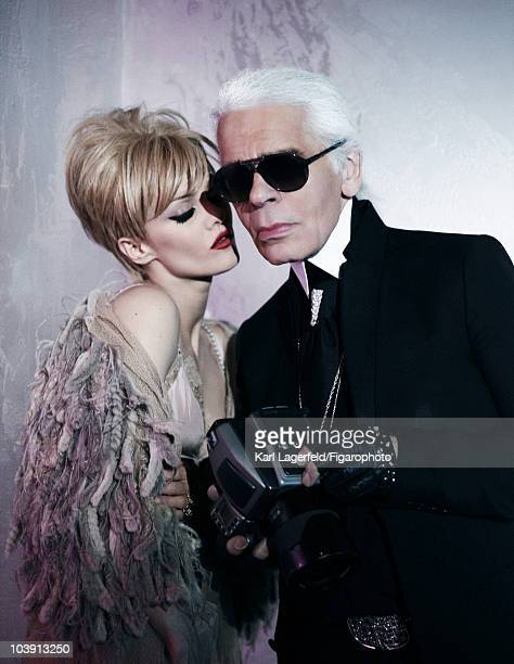 Actress Vanessa Paradis and designer Karl Lagerfeld in a fashion session for Madame Figarto Magazine inspired by Chanel designer Lagerfeld in 2010...