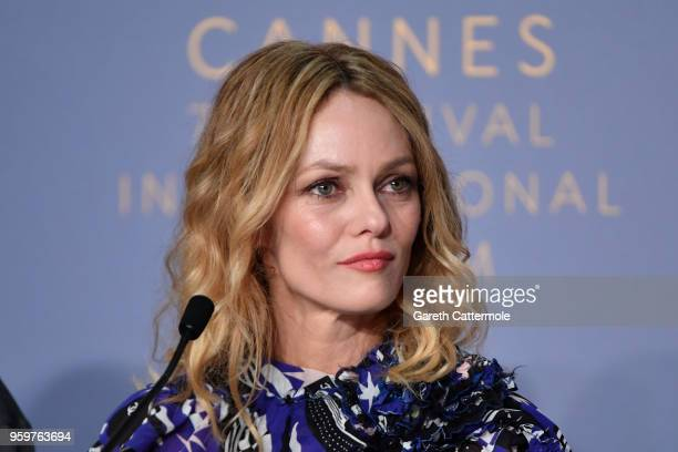 "Actress Vanessa Paradis attends ""Knife + Heart "" Press Conference during the 71st annual Cannes Film Festival at Palais des Festivals on May 18, 2018..."
