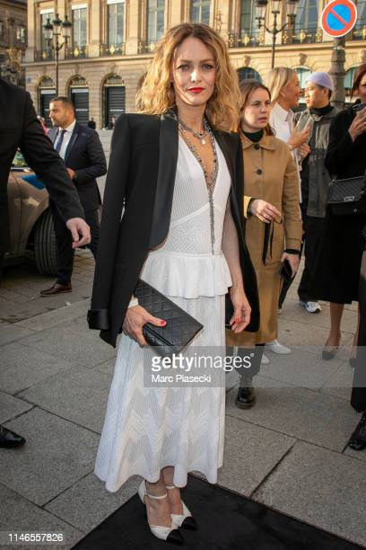 Actress Vanessa Paradis attends the CHANEL J12 cocktail on Place Vendome on May 02, 2019 in Paris, France.