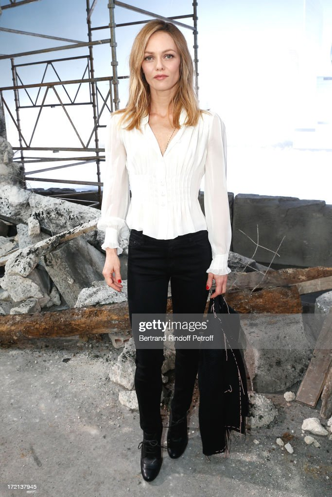 Actress Vanessa Paradis poses after the Chanel show as part of Paris Fashion Week Haute-Couture Fall/Winter 2013-2014 at Grand Palais on July 2, 2013 in Paris, France.