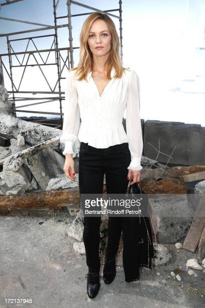 Actress Vanessa Paradis poses after the Chanel show as part of Paris Fashion Week HauteCouture Fall/Winter 20132014 at Grand Palais on July 2 2013 in...