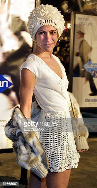 Actress Vanessa Parise arrives for the premiere of the film Catch Me If You Can 16 December 2002 in the Westwood area of Los Angeles The film is...