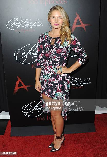 Actress Vanessa Ray arrives at Pretty Little Liars Celebrates 100 Episodes at W Hollywood on May 31 2014 in Hollywood California