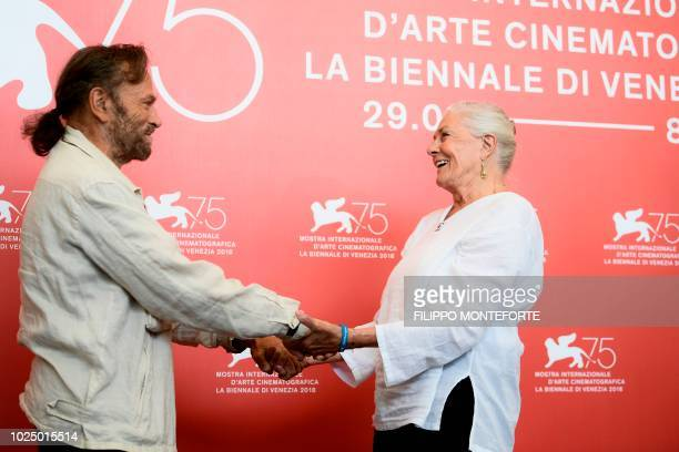 Actress Vanessa Redgrave and her husband actor Franco Nero attend a photocall for Redgrave's Golden Lion Lifetime Achievement Award on August 29 2018...