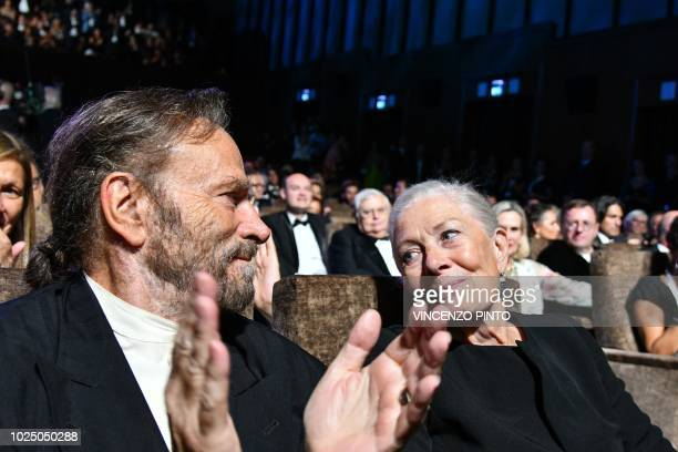 Actress Vanessa Redgrave and her husband actor Franco Nero attend Redgrave's Golden Lion Lifetime Achievement Award giving ceremony during the...