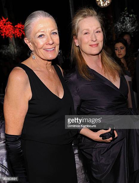 Actress Vanessa Redgrave and Meryl Streep attend the amfAR New York Gala To Kick Off Fall 2010 Fashion Week at Cipriani 42nd Street on February 10...