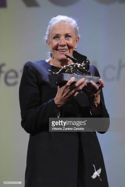 Actress Vanessa Redgrave receives the Lifetime Achievement Award during the opening ceremony and the 'First Man' screening during the 75th Venice...