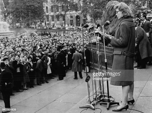 Actress Vanessa Redgrave speaking to a crowd during a ban the bomb demonstration against nuclear weapons at Trafalgar Square London October 29th 1961