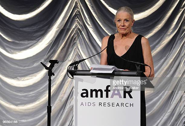 Actress Vanessa Redgrave speaks onstage at the amfAR New York Gala cosponsored by MAC Cosmetics at Cipriani 42nd Street on February 10 2010 in New...