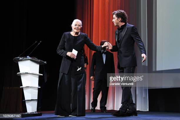 Actress Vanessa Redgrave with host of the festival Michele Riondino as she receives the Lifetime Achievement Award during the opening ceremony and...