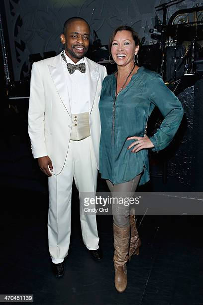 Actress Vanessa Williams poses with cast member Dulé Hill following a performance of After Midnight at Brooks Atkinson Theatre on February 19 2014 in...