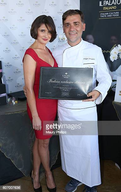 Actress Vera Cherny and chef Filippo Sinisgalli attend PILOT PEN GBK's PreEmmy Luxury Lounge Day 1 at L'Ermitage Beverly Hills Hotel on September 16...