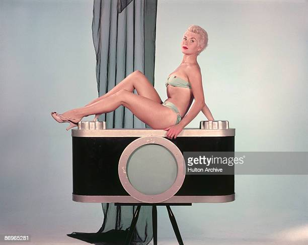 Actress Vera Day poses in a bikini at Shepperton Studios where she is starring in the film 'It's a Great Day' 1955 She was at one time married to...