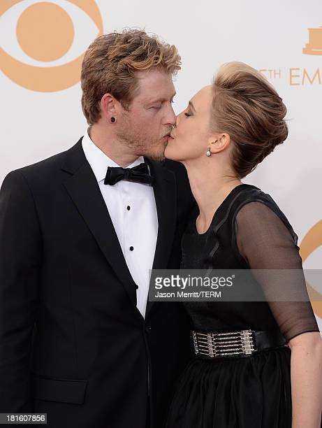 Actress Vera Farmiga and husband Renn Hawkey arrive at the 65th Annual Primetime Emmy Awards held at Nokia Theatre L.A. Live on September 22, 2013 in...