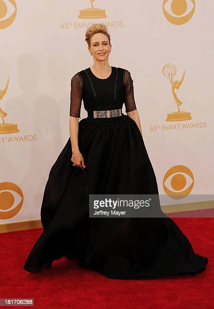 Actress Vera Farmiga arrives at the 65th Annual Primetime Emmy Awards at Nokia Theatre LA Live on September 22 2013 in Los Angeles California