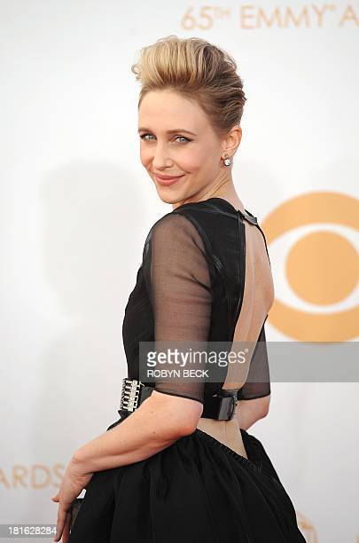Actress Vera Farmiga arrives on the red carpet for the 65th Emmy Awards in Los Angeles California on September 22 2013 AFP PHOTO / Robyn Beck