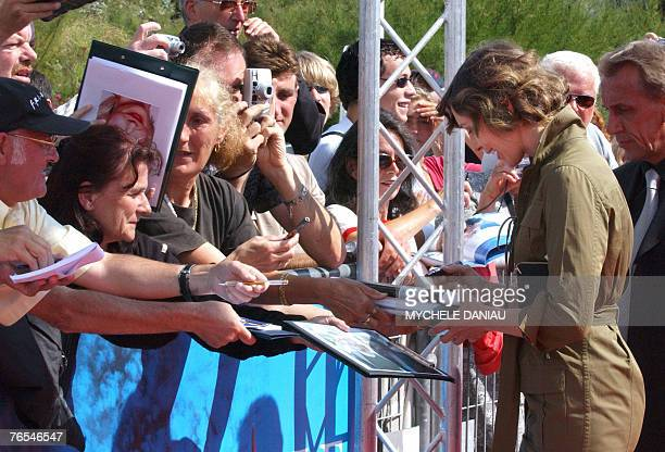 US actress Vera Farmiga signs autographs before the presentation of the movie Never Forever during the 33rd US Film Festival 06 September 2007 in...