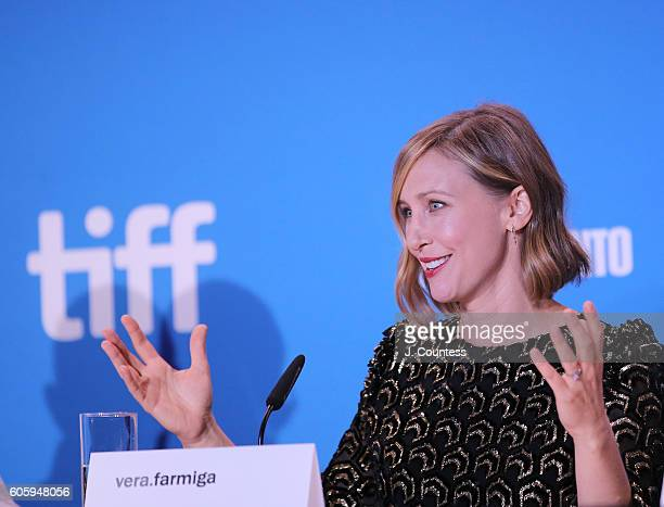 Actress Vera Farmiga speaks during the 2016 Toronto International Film Festival 'Burn Your Maps' Press Conference at TIFF Bell Lightbox on September...