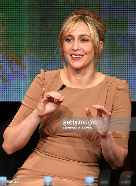 """Actress Vera Farmiga speaks onstage during the """"Bates Motel"""" panel discussion at the A&E Network portion of the 2013 Winter TCA Tourduring 2013..."""