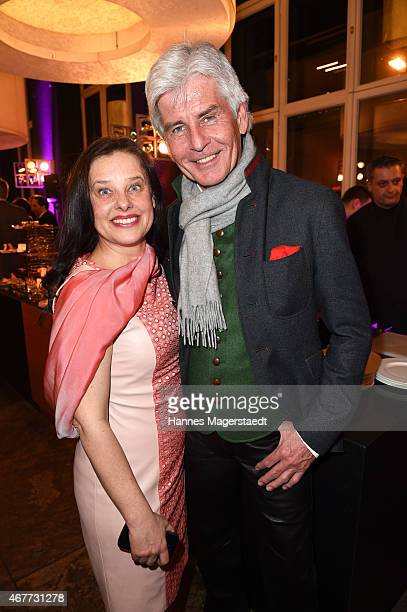 Actress Verena Buratti and Frederic Meisner attend the Life Is Magnifique magazine cocktail reception at Sofitel Munich Bayerpost on March 26 2015 in...