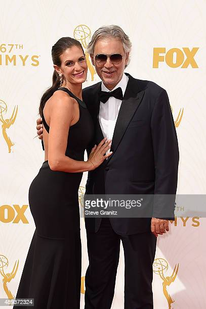 Actress Veronica Berti and recording artist Andrea Bocelli attend the 67th Annual Primetime Emmy Awards at Microsoft Theater on September 20, 2015 in...