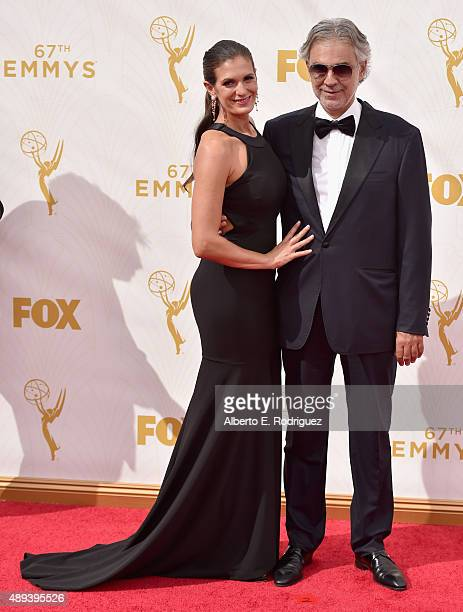 Actress Veronica Berti and recording artist Andrea Bocelli attend the 67th Emmy Awards at Microsoft Theater on September 20, 2015 in Los Angeles,...
