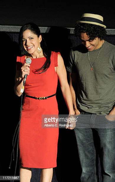 Actress Veronica DiazCarranza and actor EJ Bonilla speak onstage at the Mamitas Q A during the 2011 Los Angeles Film Festival held at Regal Cinemas...