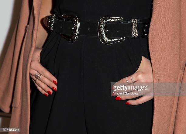 Actress Veronica Dunne belt nail and ring detail attends the Zendaya and Law Roach present Daya by Zendaya shoe collection at Raleigh Studios on...