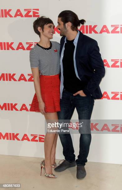 Actress Veronica Echegui and actor Alex Garcia attend 'Kamikaze' photocall at Hesperia hotel on March 27 2014 in Madrid Spain