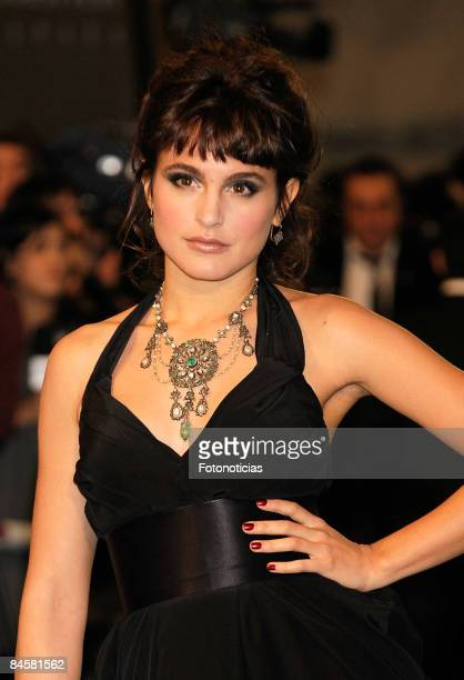 Actress Veronica Echegui arrives to Goya Cinema Awards ceremony at the Palacio Municipal de Congresos on February 1 in Madrid Spain