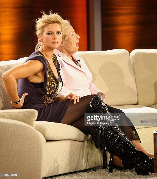Actress Veronica Ferres and Marga Spiegel attend the Wetten dass...? show at the Messe Freiburg on October 3, 2009 in Freiburg, Germany.