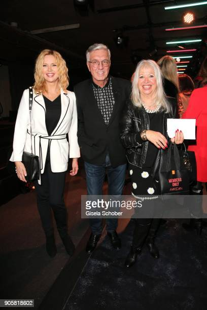 Actress Veronica Ferres with Founder and CEO of Marc Cain Helmut Schlotterer and his wife Ute Schlotterer during the Marc Cain Fashion Show Berlin...